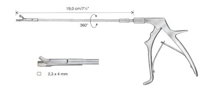 Uni-Townsend biopsy punch with rotating shaft, straight, 2,3x4mm,  19cm, 7 1/2""