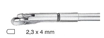 Uni-Townsend tip only with tube, downwards curved, 2,3x4mm